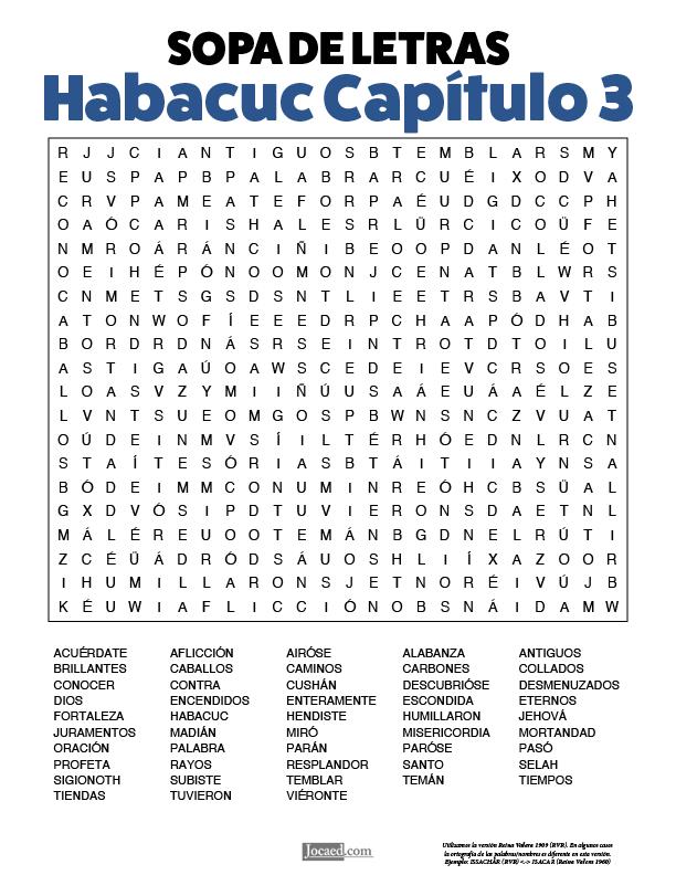 Sopa de Letras - Habacuc Cápitulo 3