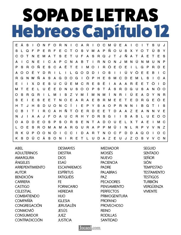 Sopa de Letras - Hebreos Cápitulo 12