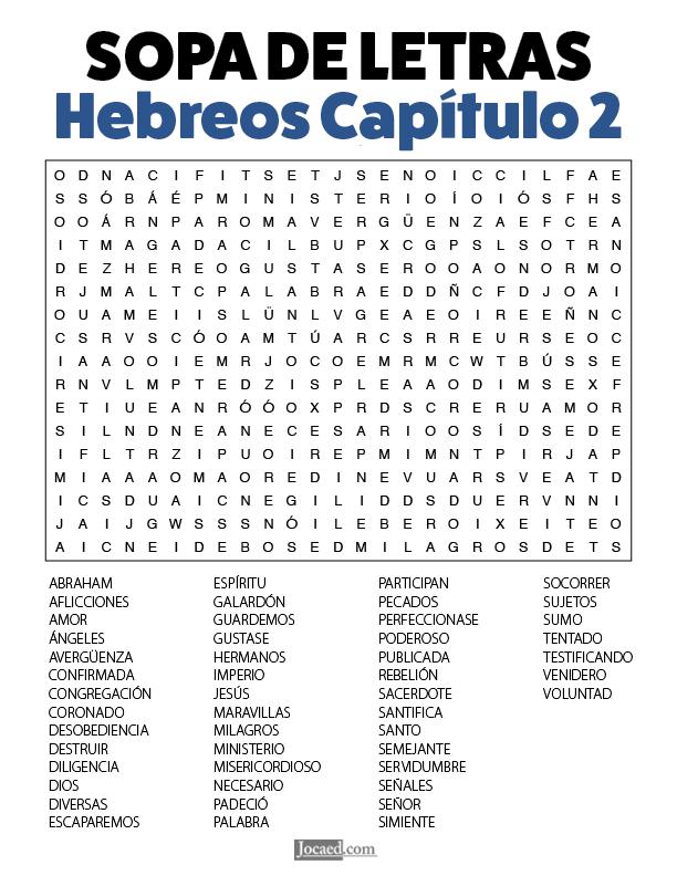 Sopa de Letras - Hebreos Cápitulo 2