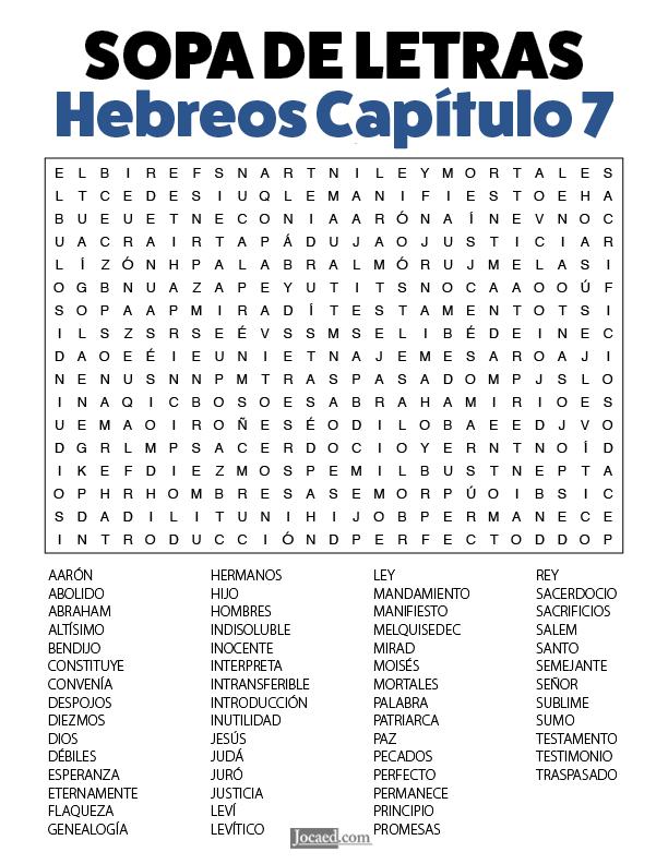Sopa de Letras - Hebreos Cápitulo 7
