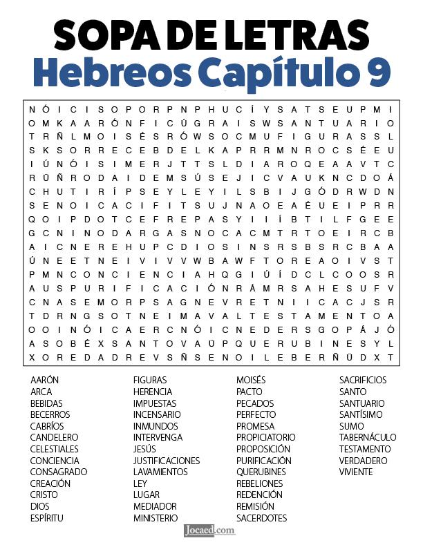 Sopa de Letras - Hebreos Cápitulo 9