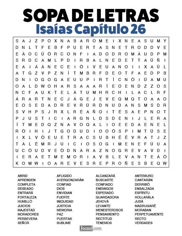 Sopa de Letras - Isaías Cápitulo 26