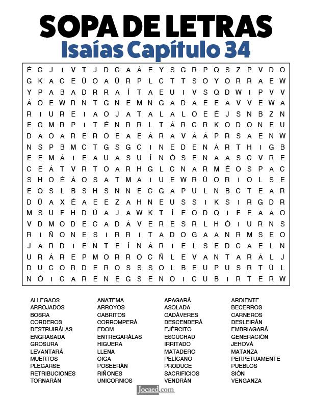 Sopa de Letras - Isaías Cápitulo 34