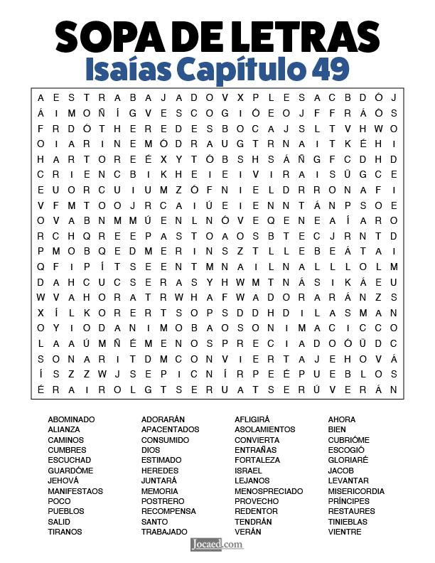 Sopa de Letras - Isaías Cápitulo 49