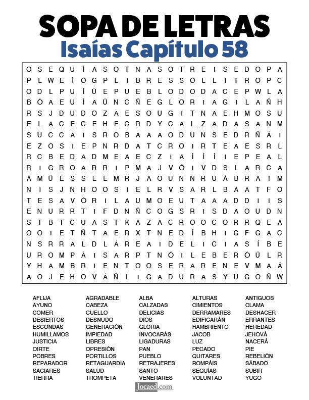 Sopa de Letras - Isaías Cápitulo 58