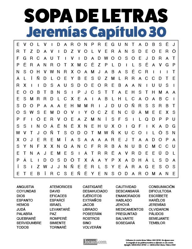 Sopa de Letras - Jeremías Cápitulo 30