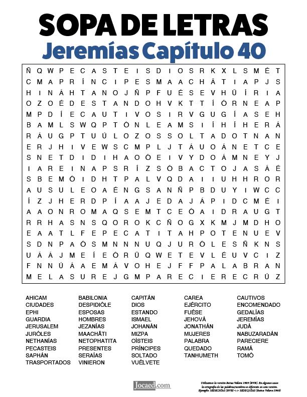 Sopa de Letras - Jeremías Cápitulo 40