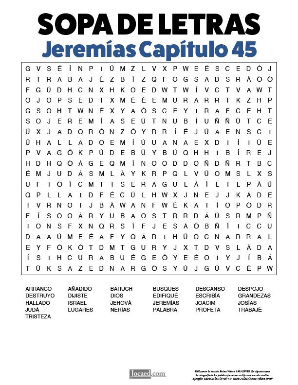Sopa de Letras - Jeremías Cápitulo 45