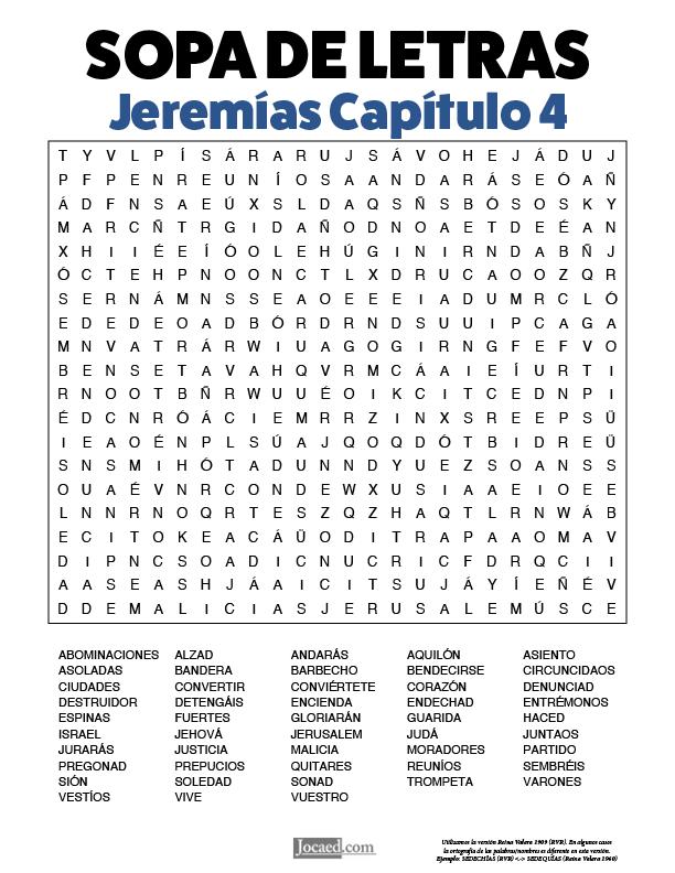 Sopa de Letras - Jeremías Cápitulo 4