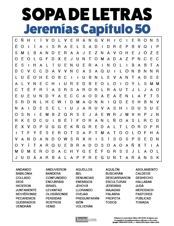 Sopa de Letras - Jeremías Cápitulo 50