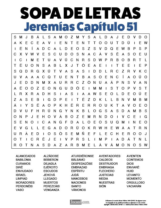 Sopa de Letras - Jeremías Cápitulo 51