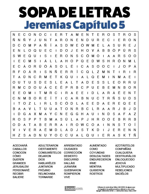 Sopa de Letras - Jeremías Cápitulo 5