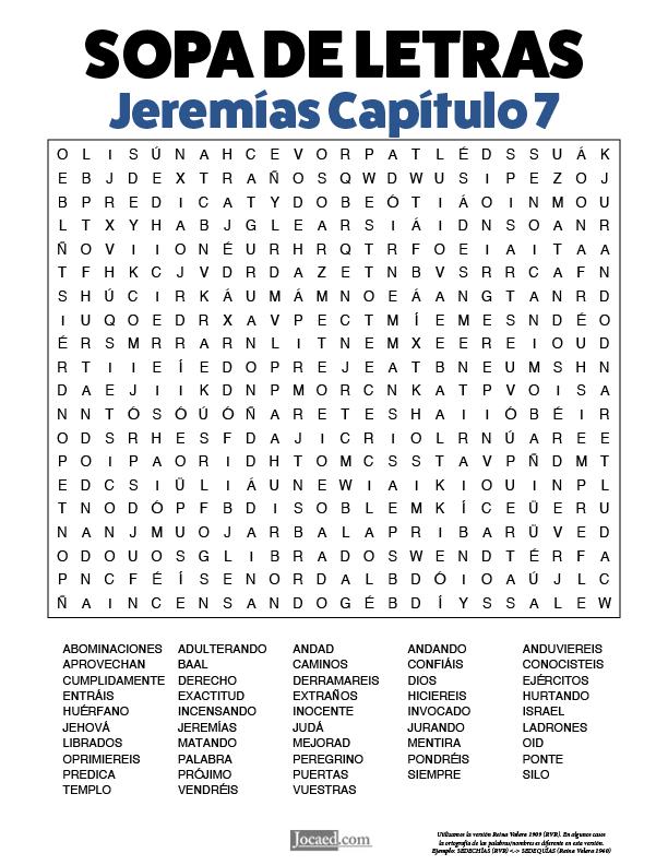 Sopa de Letras - Jeremías Cápitulo 7
