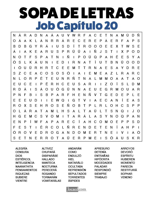 Sopa de Letras - Job Cápitulo 20