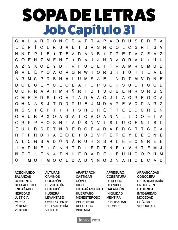 Sopa de Letras - Job Cápitulo 31