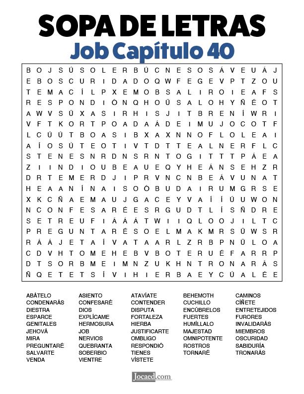 Sopa de Letras - Job Cápitulo 40