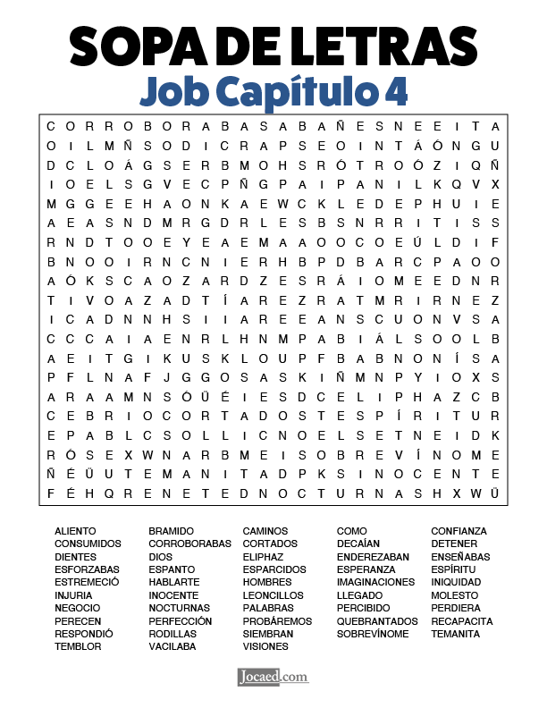 Sopa de Letras - Job Cápitulo 4