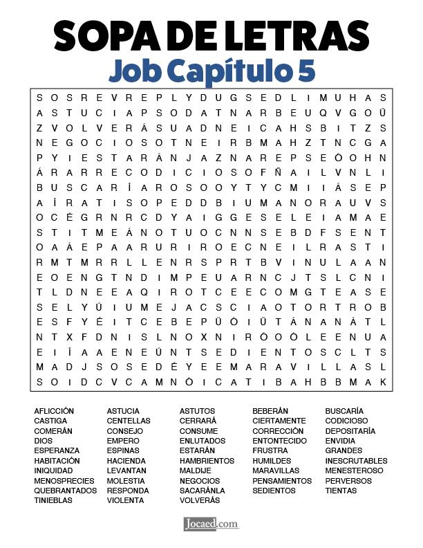 Sopa de Letras - Job Cápitulo 5