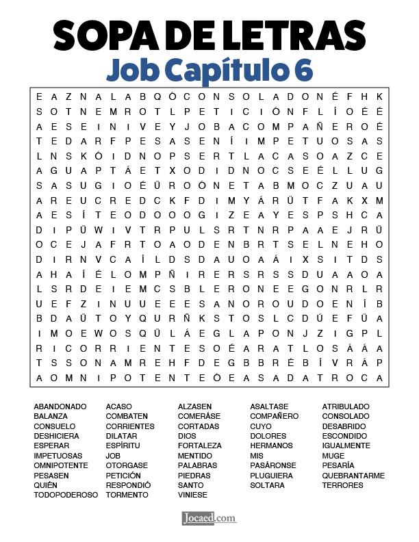 Sopa de Letras - Job Cápitulo 6