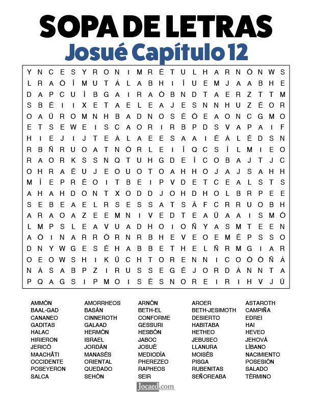 Sopa de Letras - Josué Cápitulo 12
