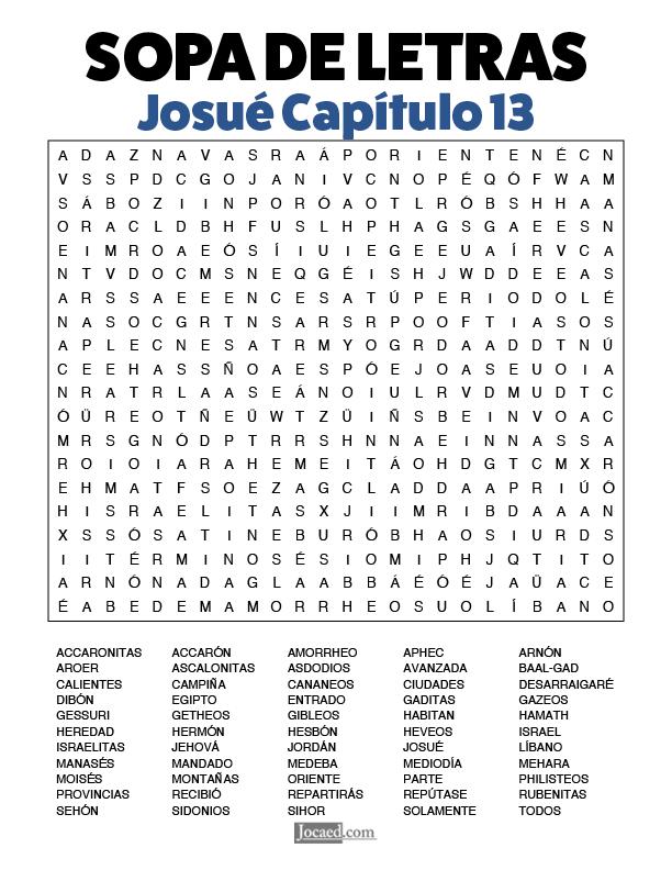 Sopa de Letras - Josué Cápitulo 13