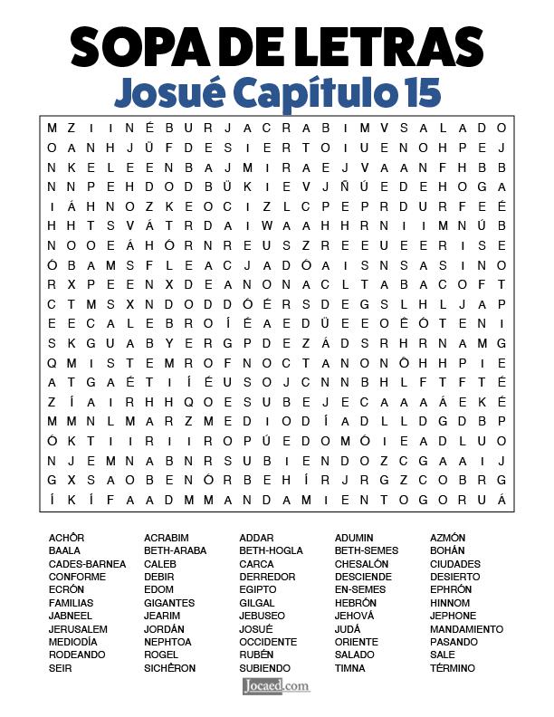 Sopa de Letras - Josué Cápitulo 15