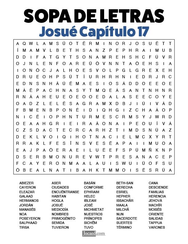 Sopa de Letras - Josué Cápitulo 17