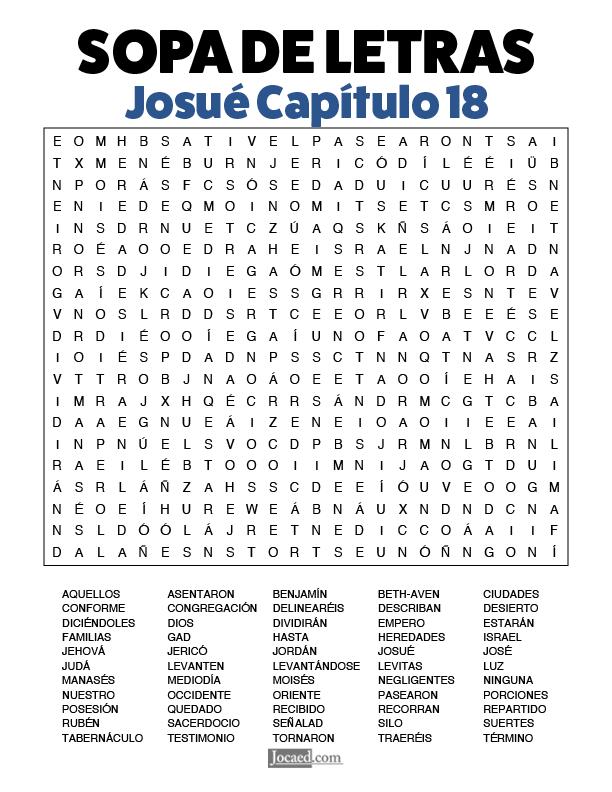 Sopa de Letras - Josué Cápitulo 18