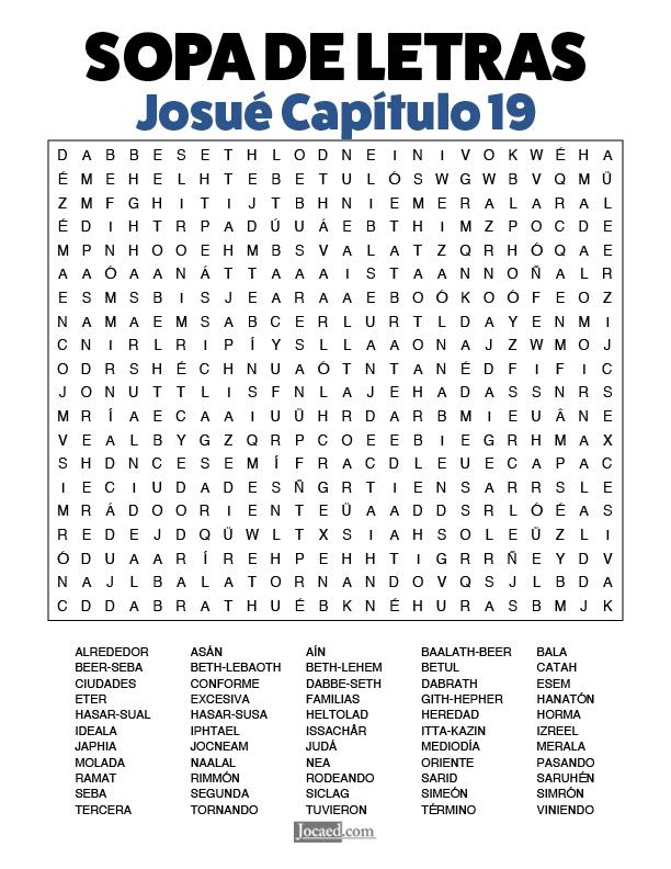 Sopa de Letras - Josué Cápitulo 19
