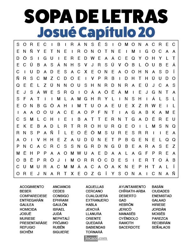 Sopa de Letras - Josué Cápitulo 20