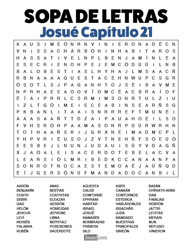 Sopa de Letras - Josué Cápitulo 21