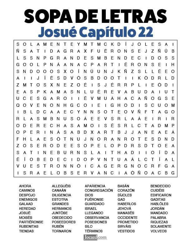 Sopa de Letras - Josué Cápitulo 22