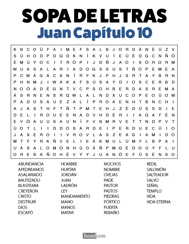 Sopa de Letras - Juan Cápitulo 10