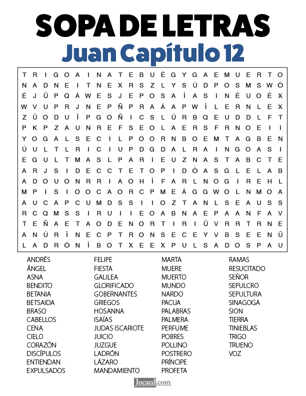 Sopa de Letras - Juan Cápitulo 12