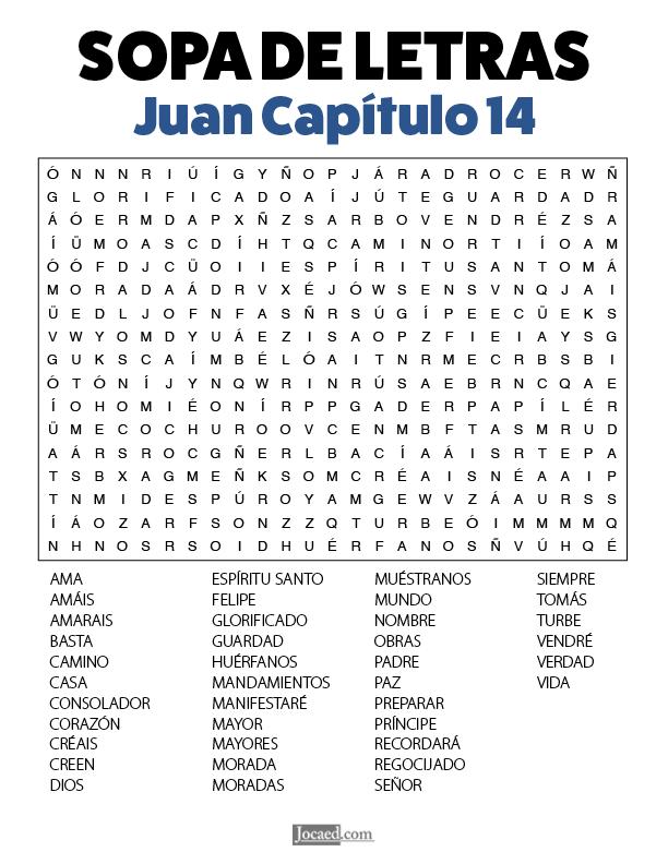 Sopa de Letras - Juan Cápitulo 14