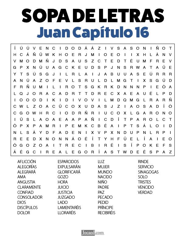 Sopa de Letras - Juan Cápitulo 16