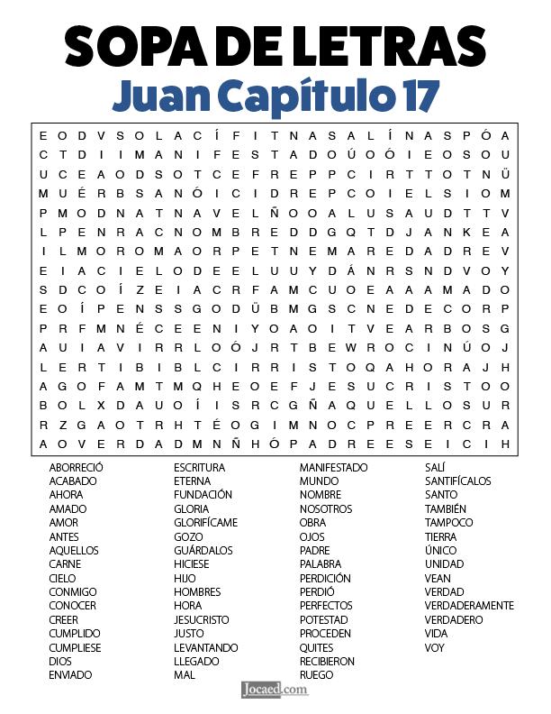 Sopa de Letras - Juan Cápitulo 17