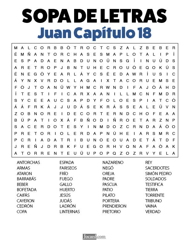 Sopa de Letras - Juan Cápitulo 18