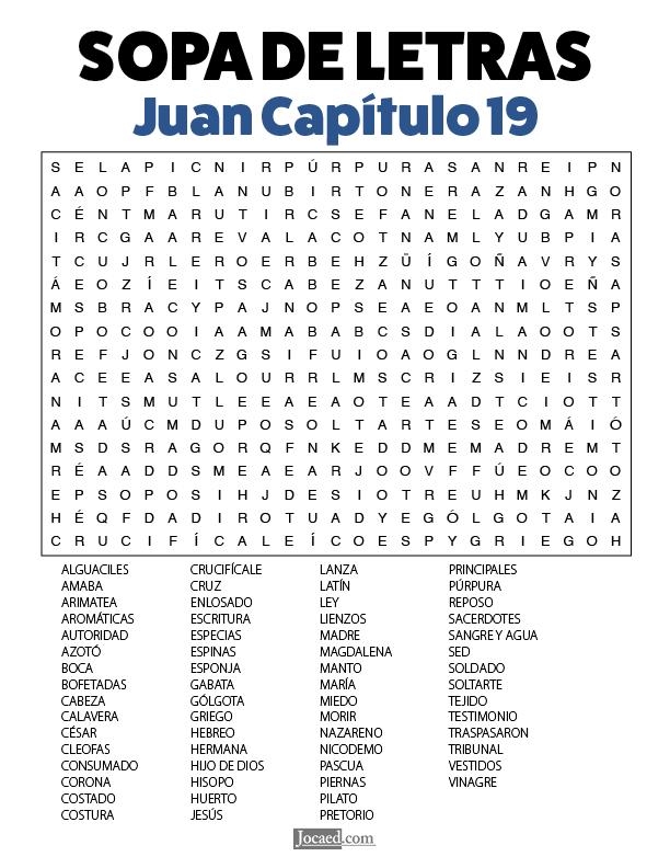 Sopa de Letras - Juan Cápitulo 19