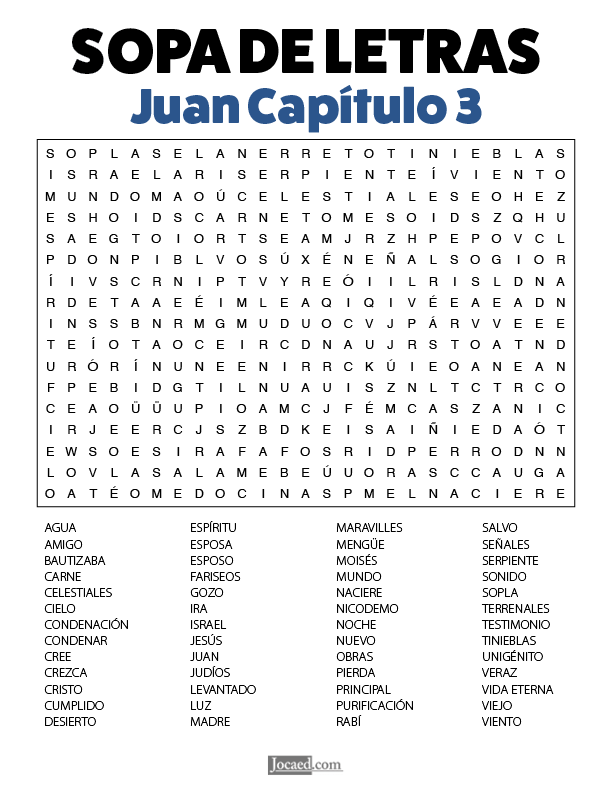 Sopa de Letras - Juan Cápitulo 3