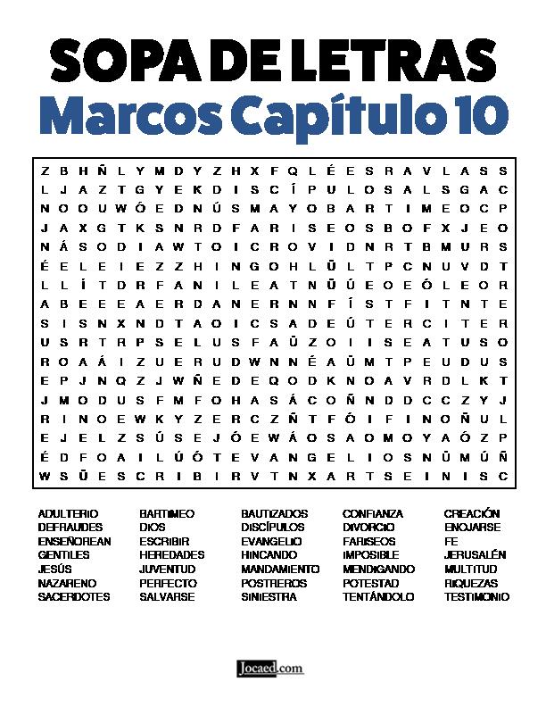 Sopa de Letras - Marcos Cápitulo 10