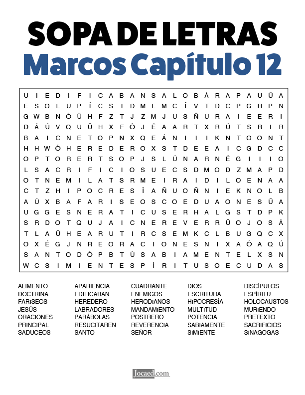 Sopa de Letras - Marcos Cápitulo 12