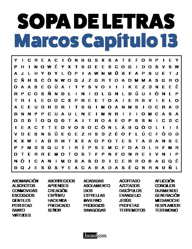 Sopa de Letras - Marcos Cápitulo 13