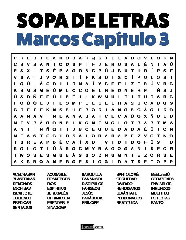 Sopa de Letras - Marcos Cápitulo 3