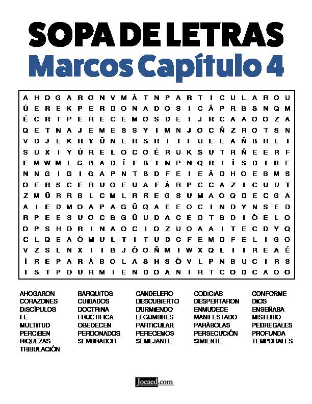Sopa de Letras - Marcos Cápitulo 4
