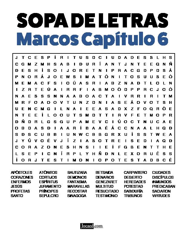 Sopa de Letras - Marcos Cápitulo 6