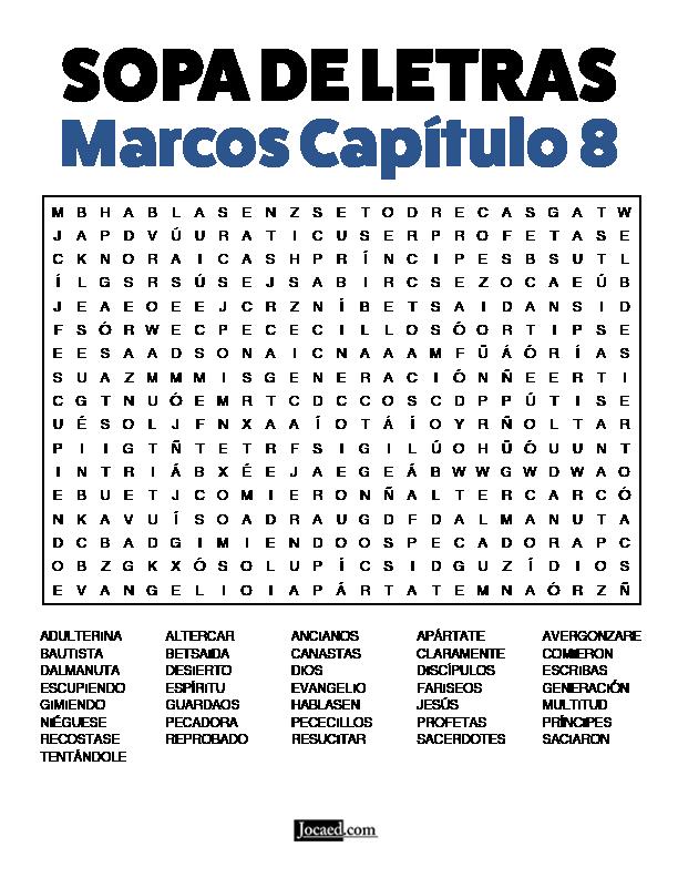 Sopa de Letras - Marcos Cápitulo 8