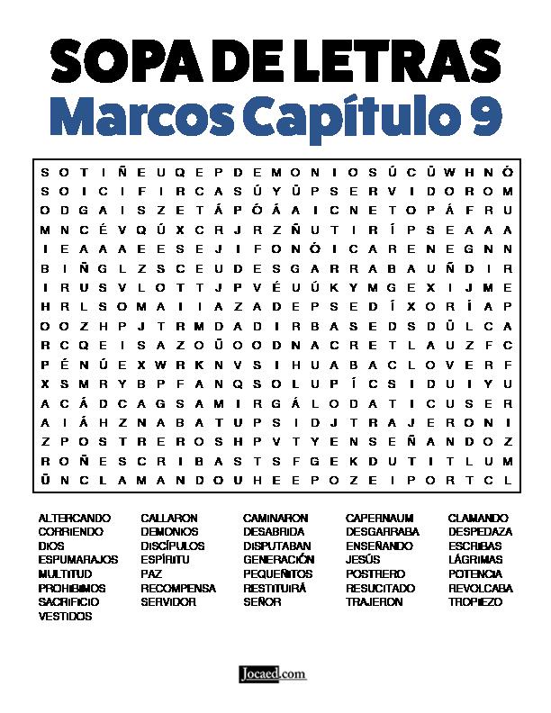 Sopa de Letras - Marcos Cápitulo 9