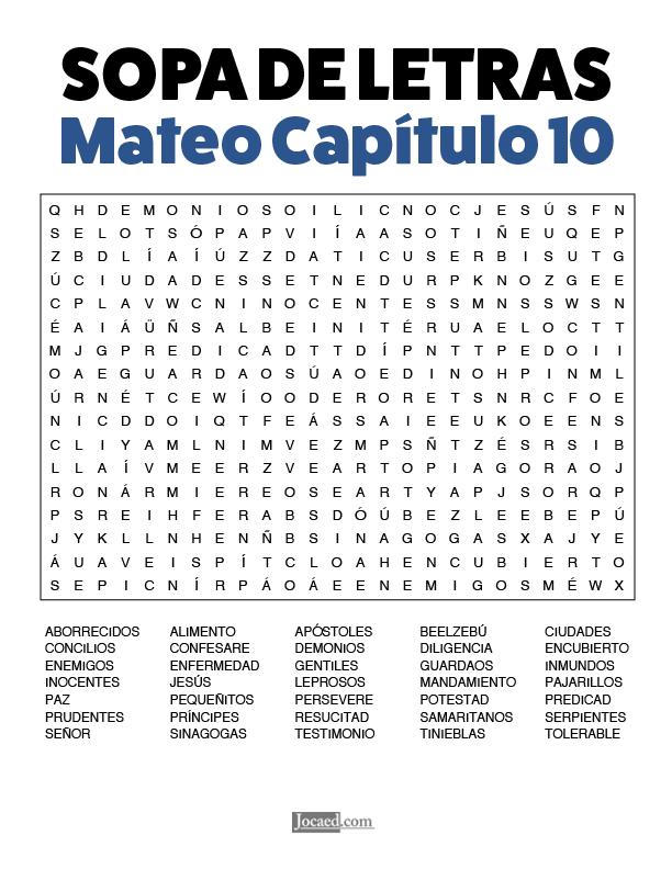 Sopa de Letras - Mateo Cápitulo 10