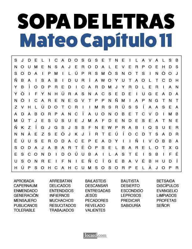 Sopa de Letras - Mateo Cápitulo 11